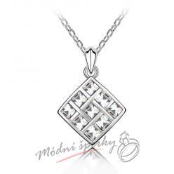 Čtverec s čirými kamínky - s krystaly SWAROVSKI ELEMENTS