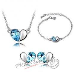 Set modré srdce s krystaly swarovski elements