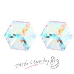 Náušnice bílá krychle s krystaly SWAROVSKI ELEMENTS