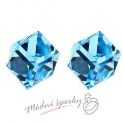 Náušnice modrá krychle s krystaly SWAROVSKI ELEMENTS