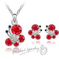 Motýlkový set v barvě červené - s krystaly SWAROVSKI ELEMENTS