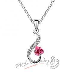 Zdobené srdce s růžovým kamínkem - s krystaly SWAROVSKI ELEMENTS