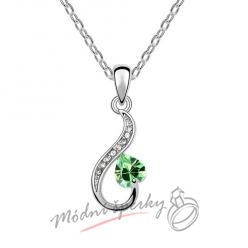 Zdobené srdce se zeleným kamínkem - s krystaly SWAROVSKI ELEMENTS