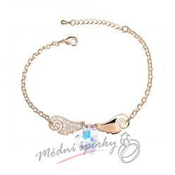 Náramek s krystaly Swarovski Elements  angel wings - clear - gold