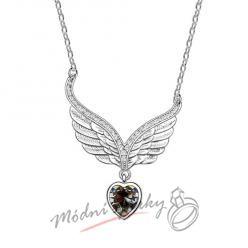 Tmavě hnědé srdce s křídly - s krystaly SWAROVSKI ELEMENTS