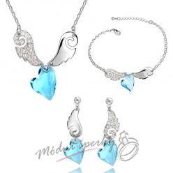 Set okřídlená srdce modrý - swarovski elements