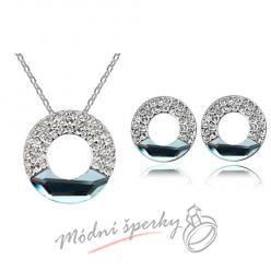 Set třpytivý kruh šedý krystal swarovski elements