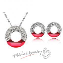 Set třpytivý kruh červený krystal swarovski elements