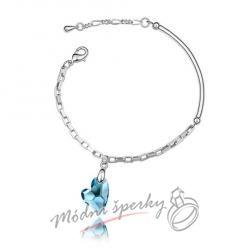 Náramek s krystaly Swarovski Elements broušené srdce modré