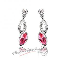 Náušnice diamond pink s krystaly SWAROVSKI ELEMENTS