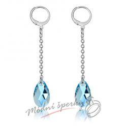 Náušnice long blue s krystaly SWAROVSKI ELEMENTS