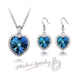 Blue ocean - srdíčkový set se kamínky s krystaly SWAROVSKI ELEMENTS