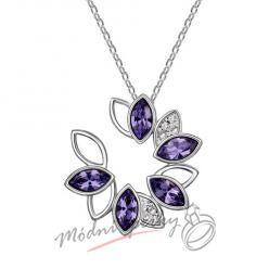 Fialový květ se kamínky s krystaly SWAROVSKI ELEMENTS