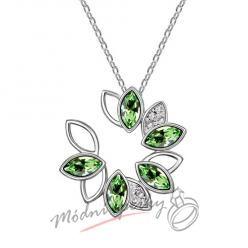 Zelený květ se kamínky s krystaly SWAROVSKI ELEMENTS