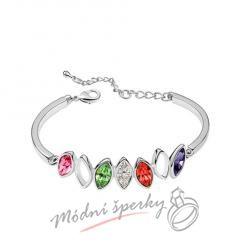 Náramek s krystaly Swarovski Elements lístky multicolor