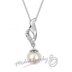 Bílá perla s křídlem - s krystaly SWAROVSKI ELEMENTS
