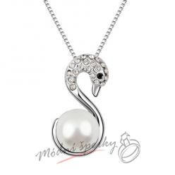 Labuť s čirou perlou - s krystaly SWAROVSKI ELEMENTS
