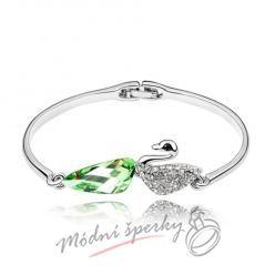 Náramek s krystaly Swarovski Elements labuť se zeleným krystalem