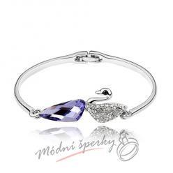 Náramek s krystaly Swarovski Elements labuť s fialovým krystalem