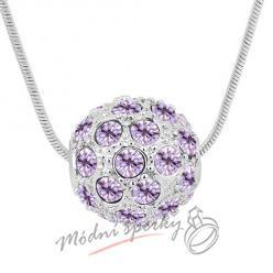 Korálek s fialovými krystalky swarovski elements