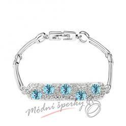Náramek s krystaly Swarovski Elements Five stars - modrý