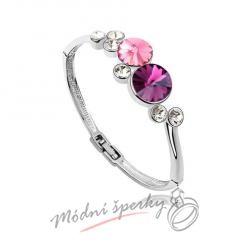 Náramek s krystaly Swarovski Elements Ring pink