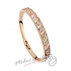 Náramek s krystaly Swarovski Elements Stripes multicolor - gold