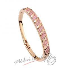Náramek s krystaly Swarovski Elements Stripes pink - gold