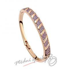 Náramek s krystaly Swarovski Elements Stripes purple - gold