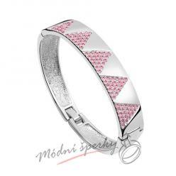 Náramek s krystaly Swarovski Elements Triangle - pink