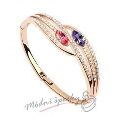 Náramek s krystaly Swarovski Elements Two eyes pink and purple -gold