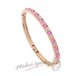 Náramek s krystaly Swarovski Elements Gold squares - pink