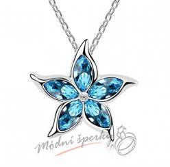 Velká modrá květina swarovski elements