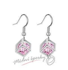 Náušnice visací krychličky růžové s krystaly swarovski elements