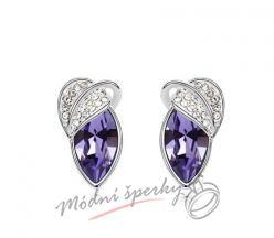 Náušnice fialové krystaly swarovski s lístky