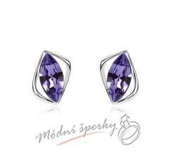 Náušnice fialové krystaly swarovski elements