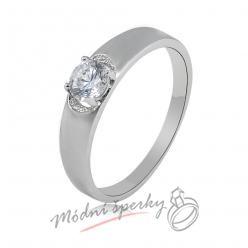 Prsten hladký s krystalem