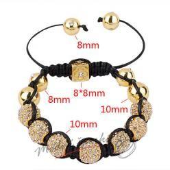 Shamballa náramek zlaté kuličky s čirými krystaly