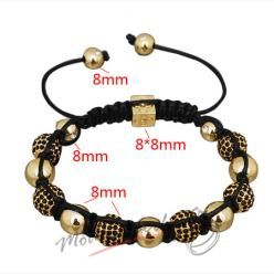 Shamballa náramek zlatý s černými krystalky