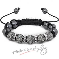 Shamballa náramek grey with line