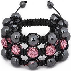 Trojitý náramek Shamballa černo růžový