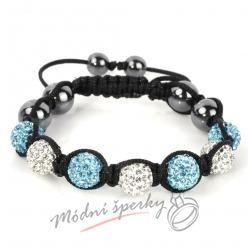Shamballa náramek modro - čiré korálky
