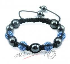 Shamballa náramek černo - modré korálky