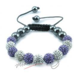 Shamballa náramek čiré a fialové korálky