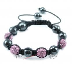 Shamballa náramek černo - růžovými korálky