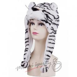 Hřejivá čepice bílý tygr