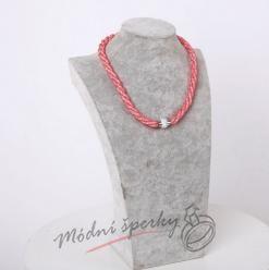 Třpytivý náhrdelník červený