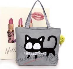 Plátěná taška - kočka s rybou