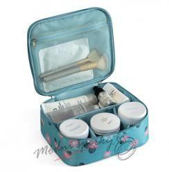 Kosmetická taška tyrkysová s kvítky