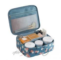 Kosmetická taška modrá s kvítky